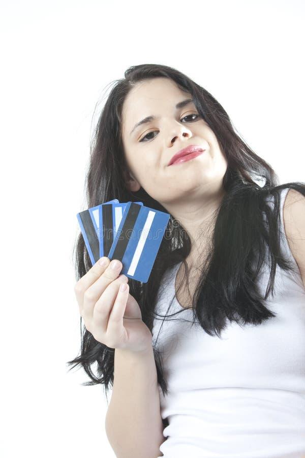 karty kredytują szczęśliwego zdjęcia stock