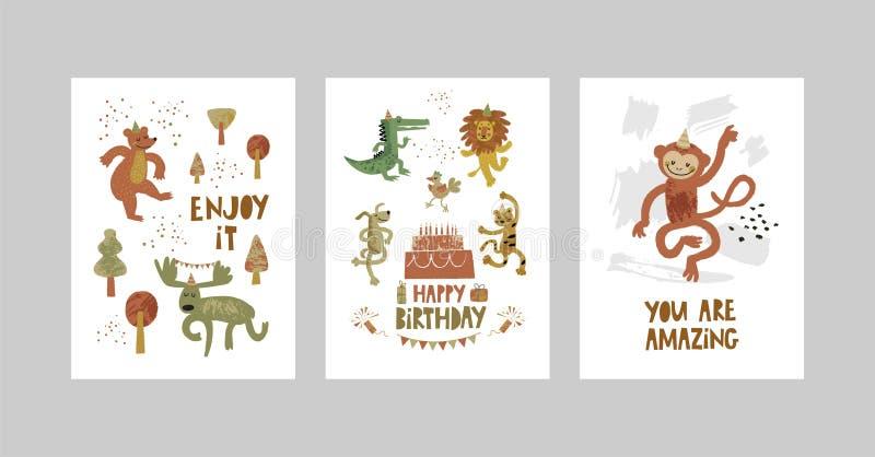 Karty lub plakaty ustawiający z ślicznymi zwierzętami, krokodyl, łoś, niedźwiedź, małpa, lampart, lew, pies w kreskówka stylu ilustracja wektor