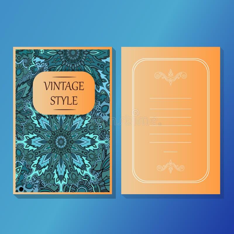 Karty lub zaproszenia inkasowi z mandala ornamentu round rocznika projekta dekoracyjnymi elementami dla tkanina papieru druku ilustracja wektor