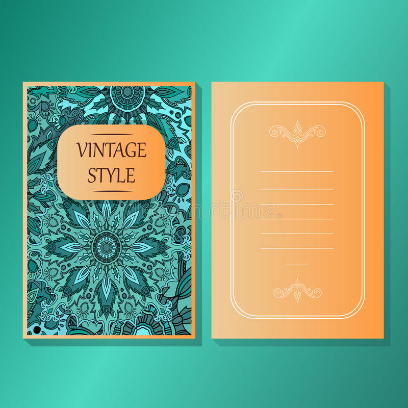 Karty lub zaproszenia inkasowi z mandala ornamentu round rocznika projekta dekoracyjnymi elementami dla tkanina papieru druku ilustracji