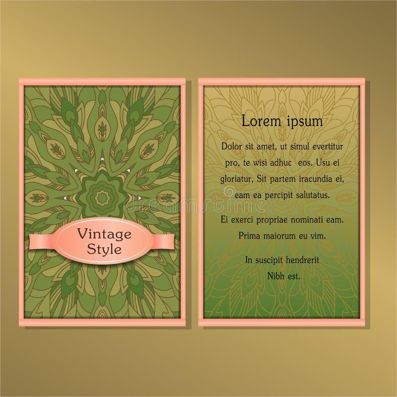Karty lub zaproszenia inkasowi z mandala ornamentu round rocznika projekta dekoracyjnymi elementami dla tkanina papieru druku royalty ilustracja