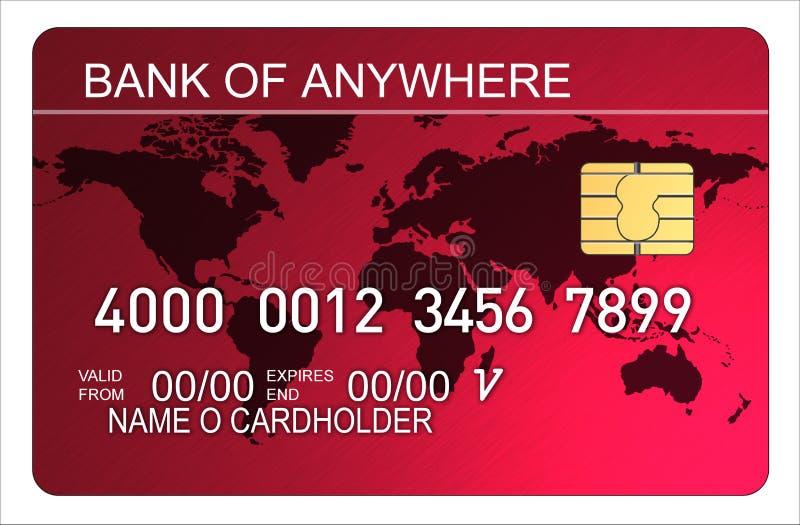 karty mapy świata kredytowego czerwieni ilustracji