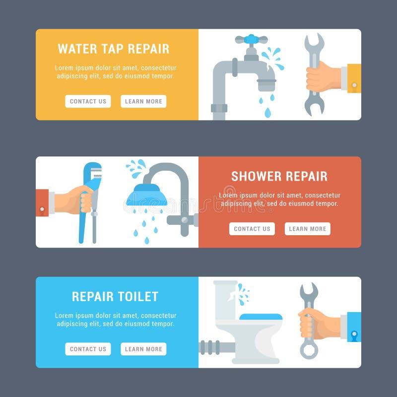 Karty naprawa Sanitarna inżynieria ilustracji
