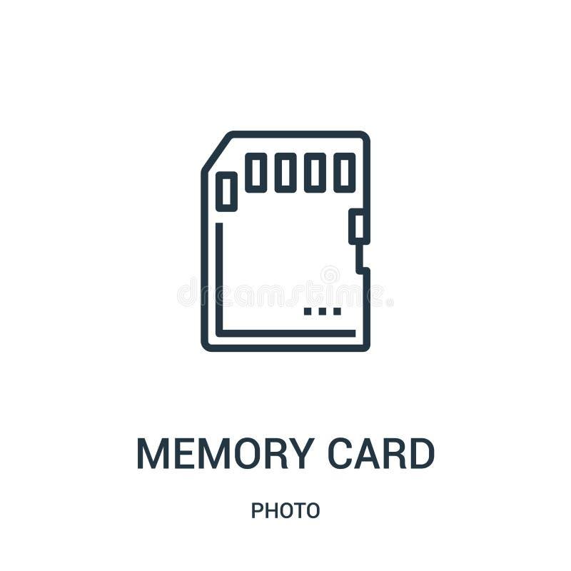 karty pamięci ikony wektor od fotografii kolekcji Cienka kreskowa karta pamięci konturu ikony wektoru ilustracja Liniowy symbol d ilustracji