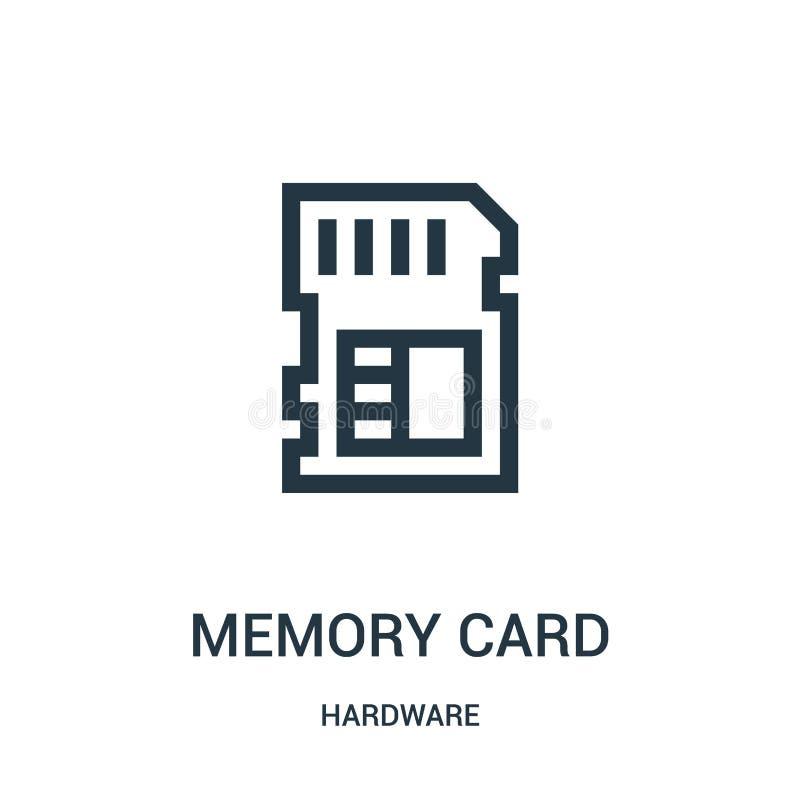karty pamięci ikony wektor od narzędzia kolekcji Cienka kreskowa karta pami?ci konturu ikony wektoru ilustracja ilustracji