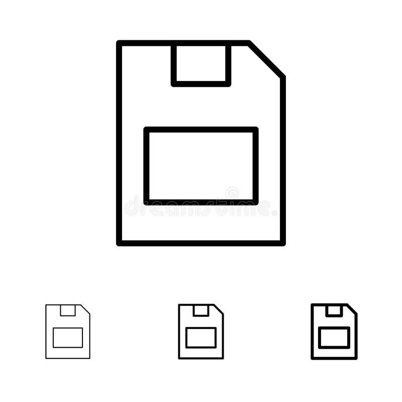 Karty, karty pamięci, magazynu, dane czerni linii ikony set, Śmiały i cienki ilustracji