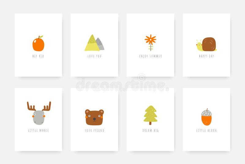 Karty, pocztówki, etykietki, pokrywy z zwierzętami, łoś amerykański, niedźwiedź, ślimaczek, acorn, jabłko, góry, kwiat, futerkowy royalty ilustracja