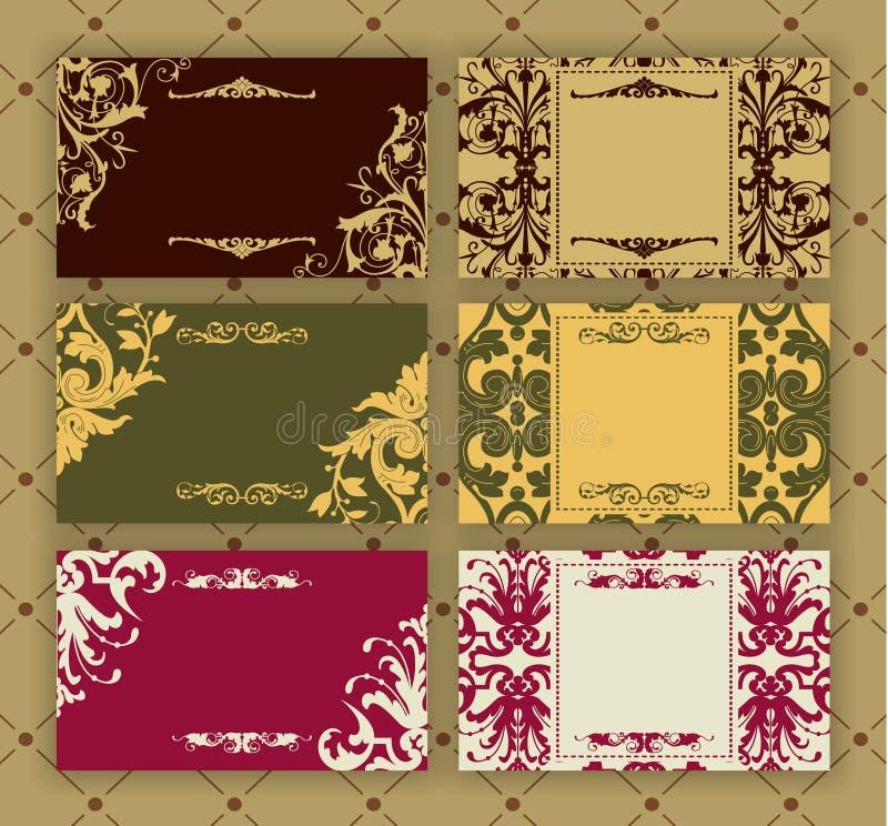 karty ustawiają rocznika royalty ilustracja