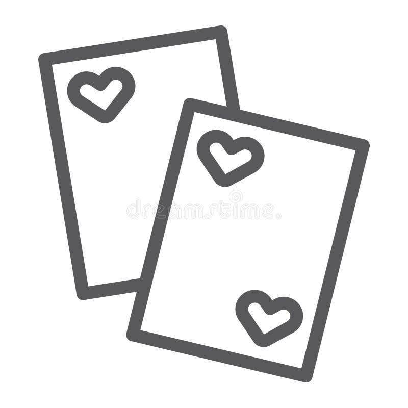 Karty wykładają ikonę, gra i kasyno, karty do gry podpisuje, wektorowe grafika, liniowy wzór na białym tle royalty ilustracja