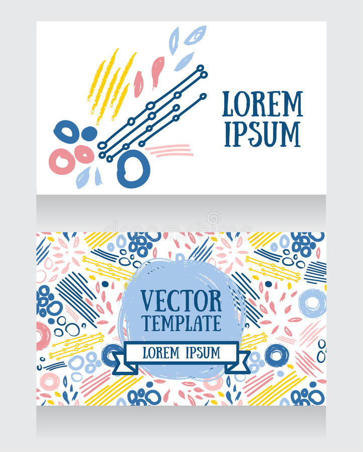 Karty z abstrakcjonistyczna ręka rysującym projektem ilustracja wektor