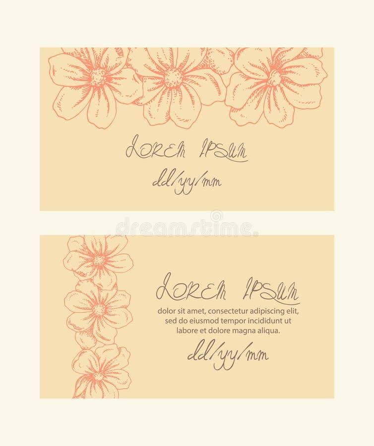 Karty z kwiatami ilustracji