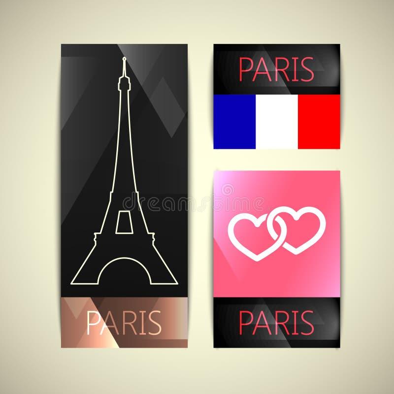 Karty z Paris symbolami ilustracji
