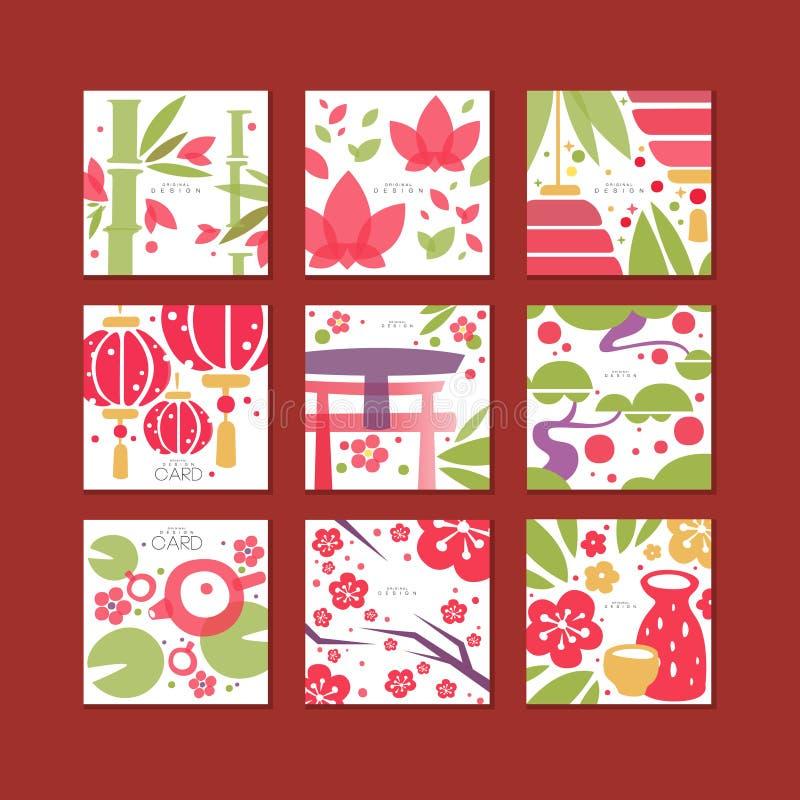Karty z tradycyjnym azjata wzorem, oryginalny projekt, dekoracyjnej szablon tekstury kolorowe wektorowe ilustracje ilustracji