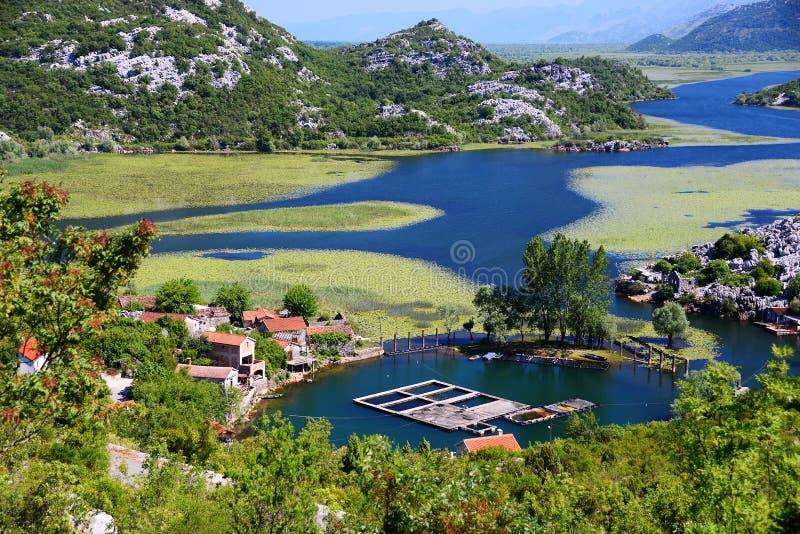 Karuc village on Lake Skadar, Montenegro. The largest lake in the Balkan Peninsula. National Park stock images
