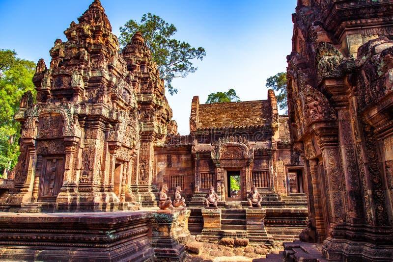 Karuda鸟在女王宫红砂岩寺庙,柬埔寨的Gardians雕刻 图库摄影