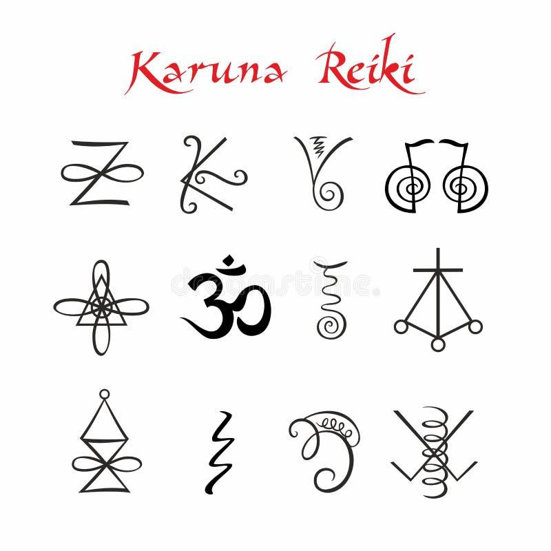 Karuna Reiki symbole Heilende Energie Ginkgo biloba Badfelder auf dem Bambustellersegment Vektor vektor abbildung