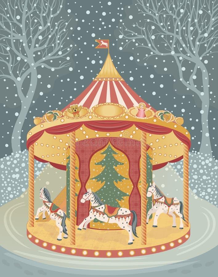 Download Karusell med hästar vektor illustrationer. Illustration av gåvor - 27288425