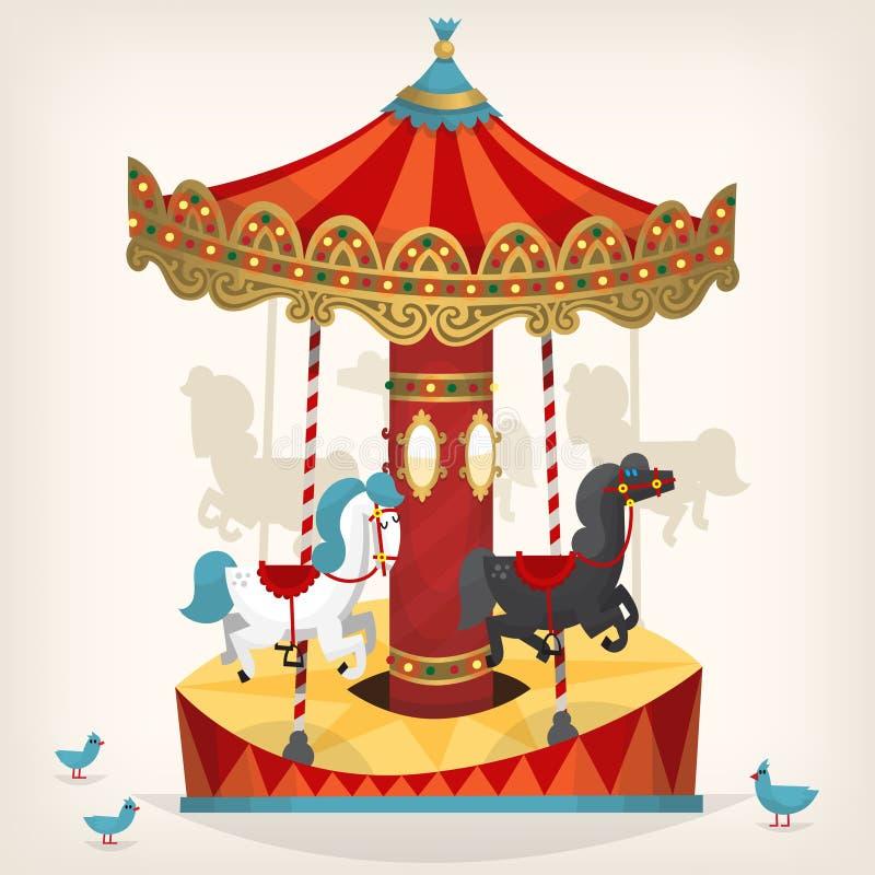 Karusell med hästar royaltyfri illustrationer