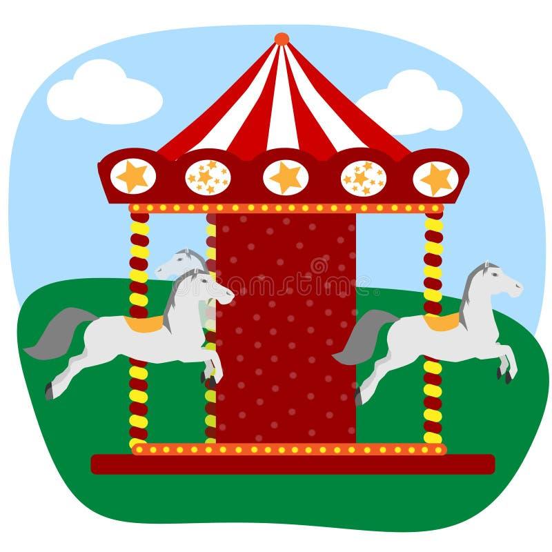 Karusell med tre hästar royaltyfri illustrationer
