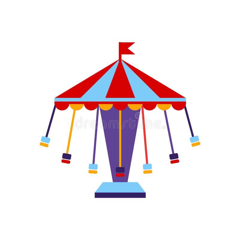 Karusellen med sitter på kedjor royaltyfri illustrationer