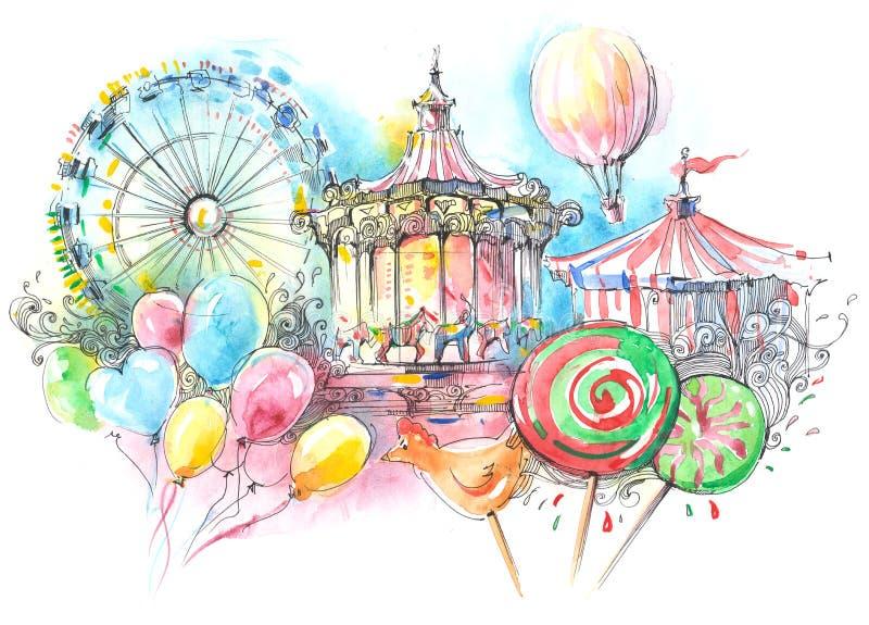 karuseller stock illustrationer