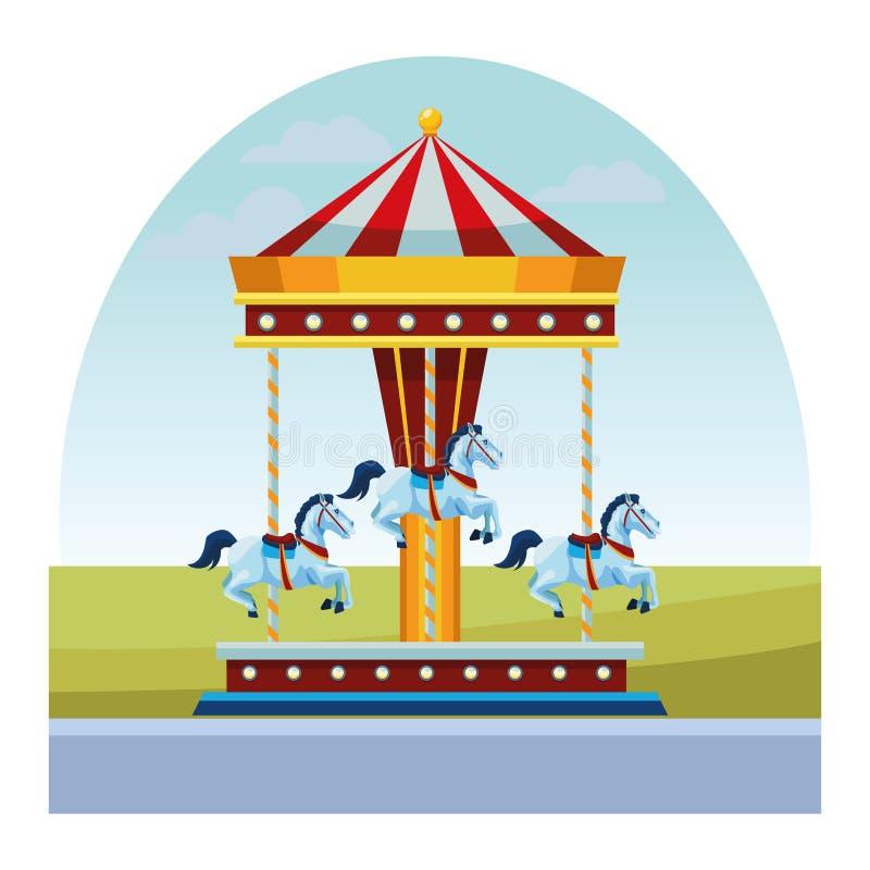 Karusellgyckel i morgonen royaltyfri illustrationer