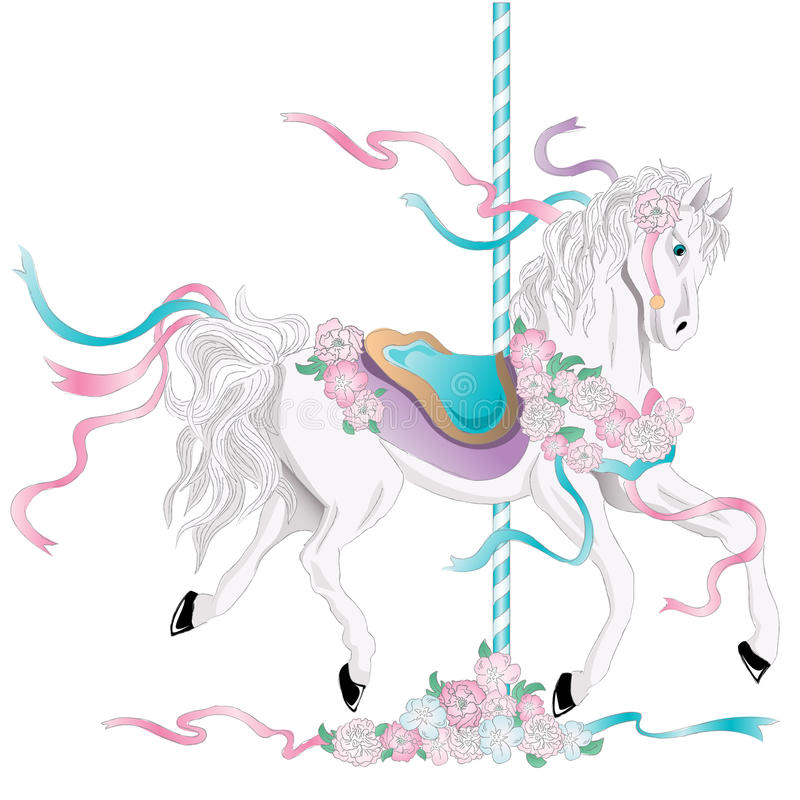 karusellhäst stock illustrationer
