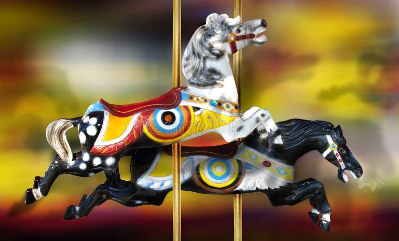 karusellhästar arkivbild