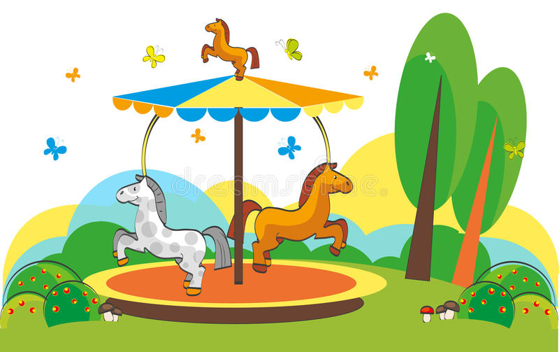 Karusellhästar stock illustrationer