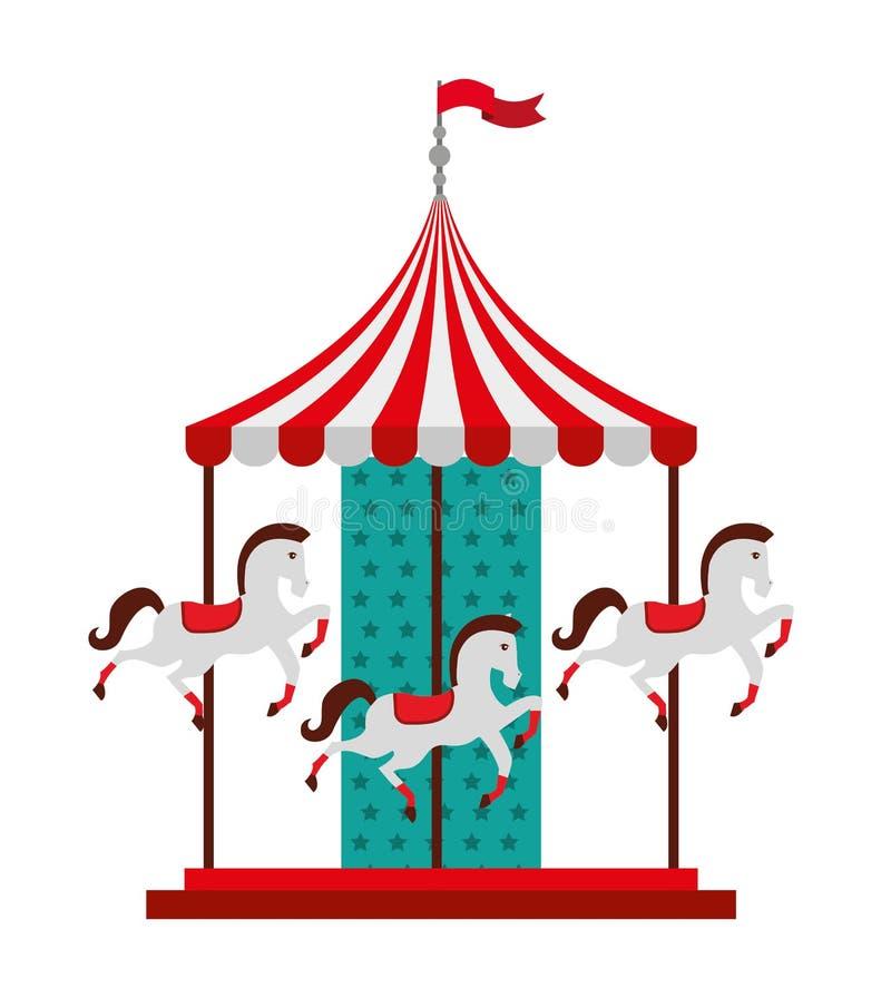 karusellhästar isolerade symbolsdesign vektor illustrationer