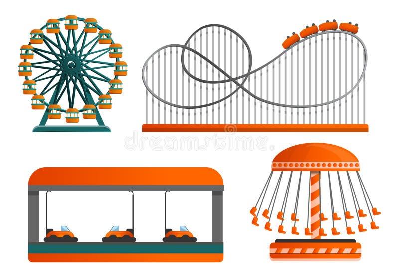 Karusellsymbolsuppsättning, tecknad filmstil royaltyfri illustrationer