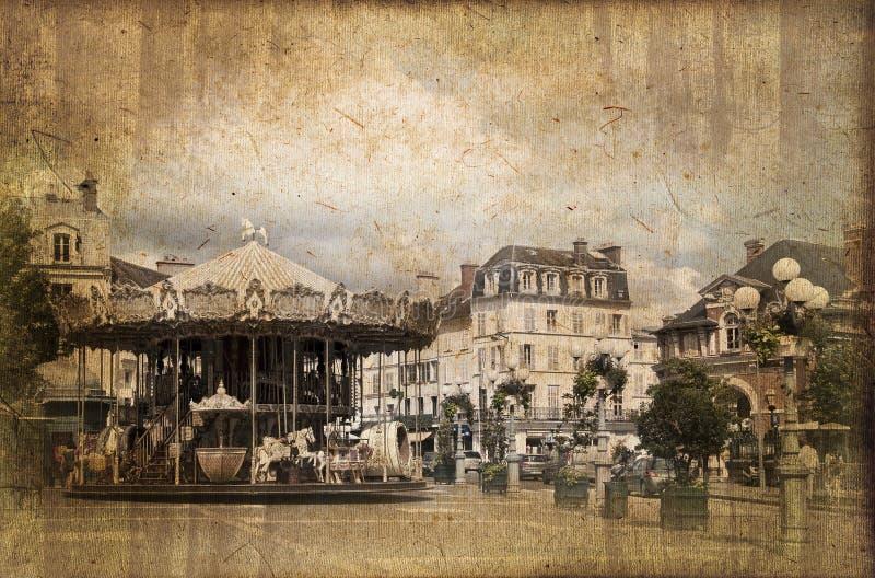 Karussell auf dem Hauptplatz von Fontainebleau, Weinleseprozeß lizenzfreie abbildung