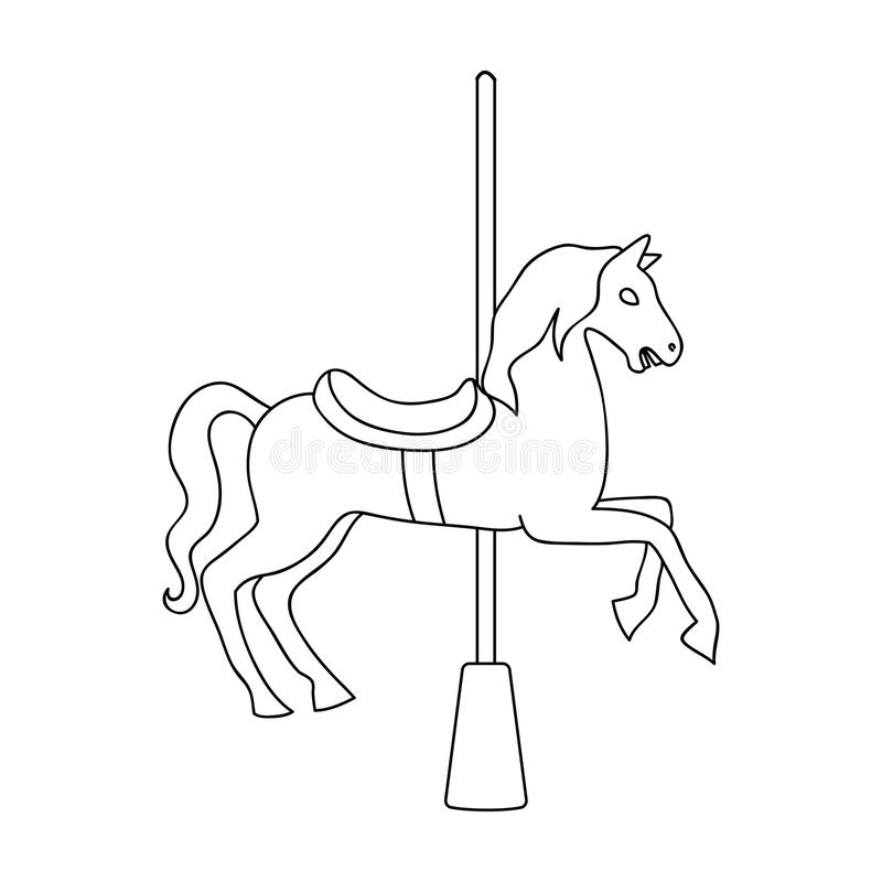 Karussell für Kinder Pferd auf dem Pfosten für das Reiten Einzelne Ikone des Vergnügungsparks Entwurfsartvektorsymbolauf lager vektor abbildung