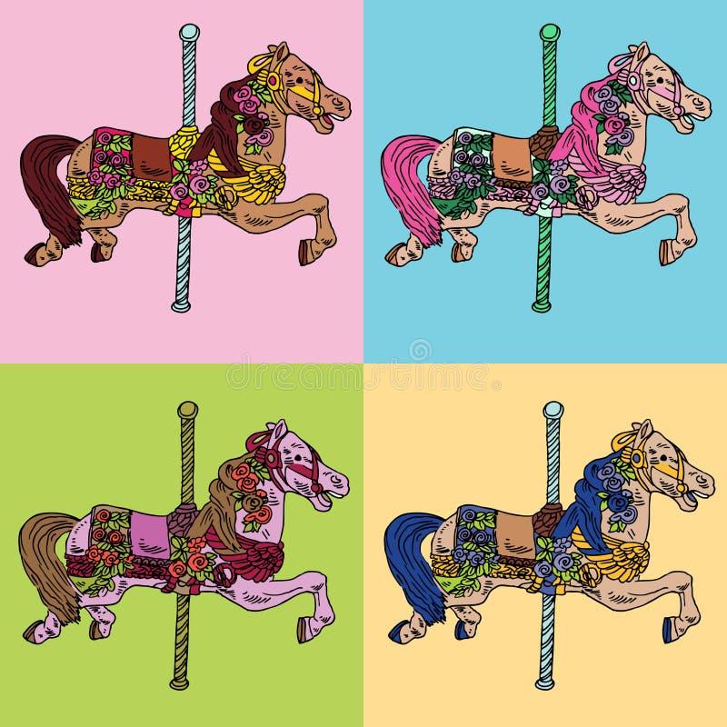 Karussell-Pferden-Set lizenzfreie abbildung