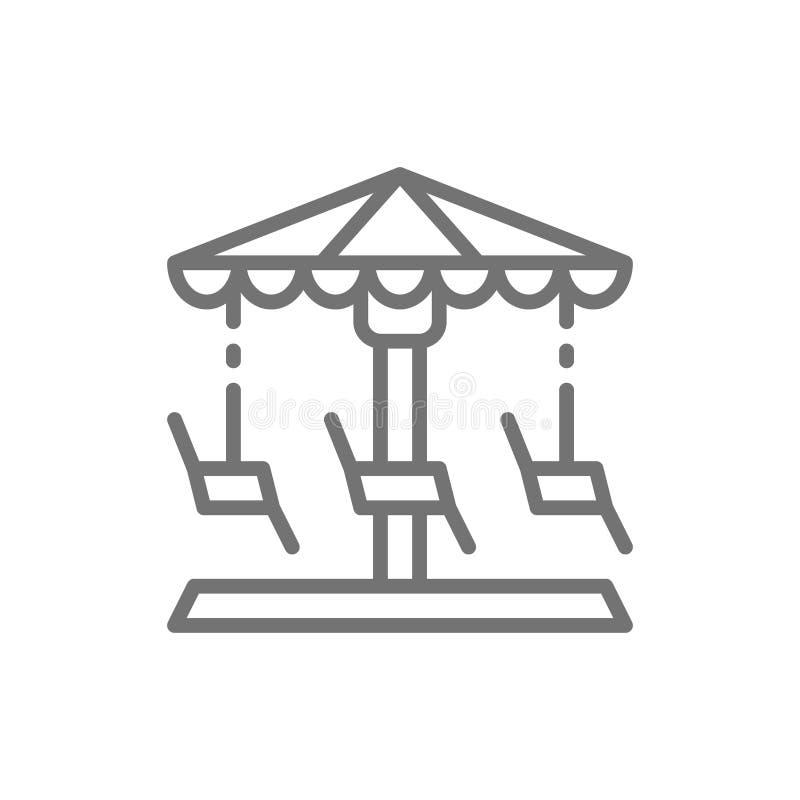Karussell, Karussell, Schwingenlinie Ikone vektor abbildung