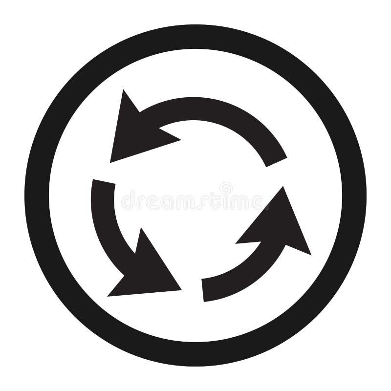 Karussell-Zirkulationszeichenlinie Ikone vektor abbildung