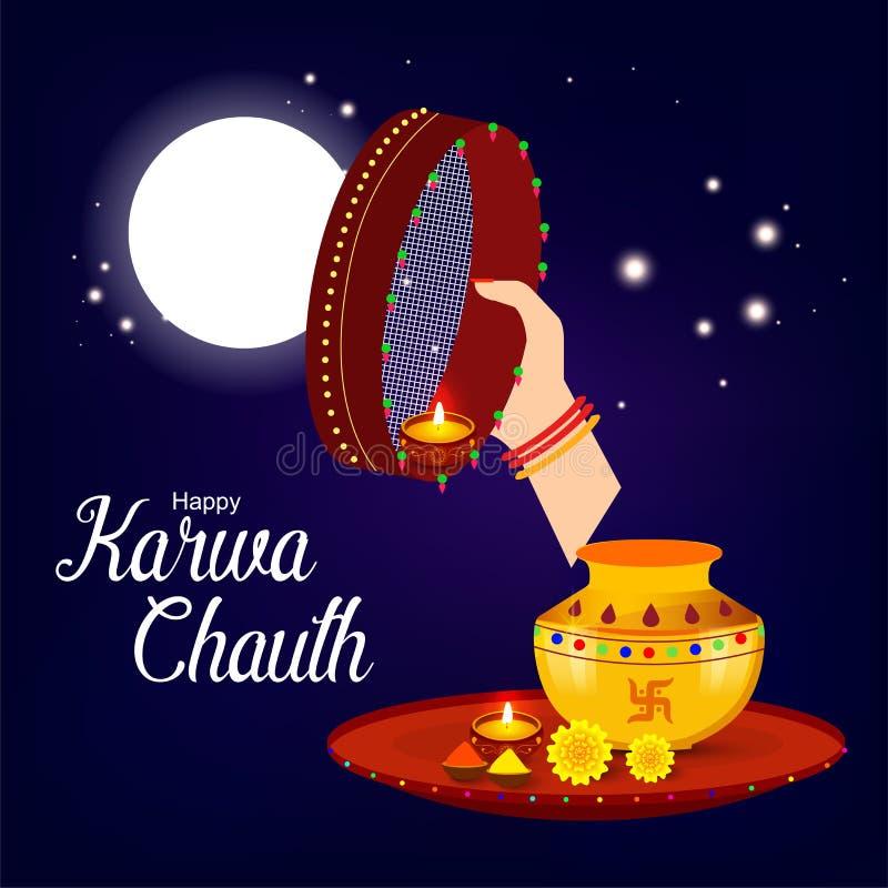 Karwa Chauth com ilustração agradável e criativa do projeto ilustração do vetor