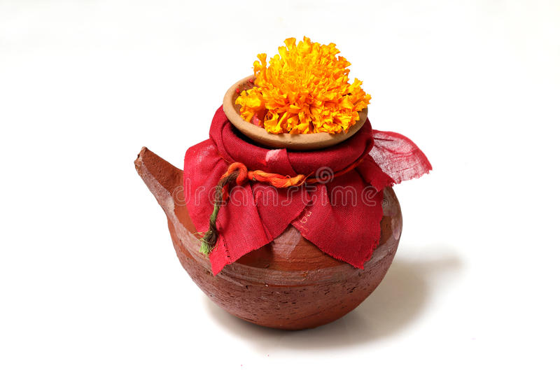 Karwa a small pot made of mud. This is used in a tradition called karwa chauth in India. On this day , the Hindu ladies remain on fasting and don't even stock photo