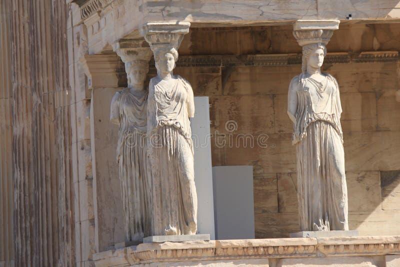 Karyatides en la acrópolis en Atenas Grecia fotos de archivo libres de regalías