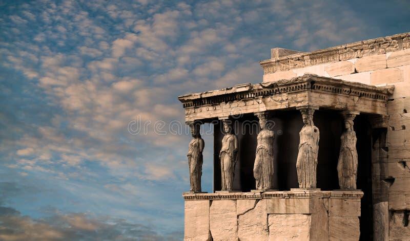 Karyatides, Erehtheio, акрополь стоковые изображения