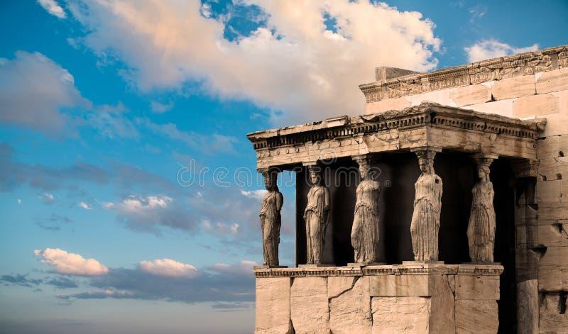 Karyatides, Erehtheio, акрополь стоковая фотография