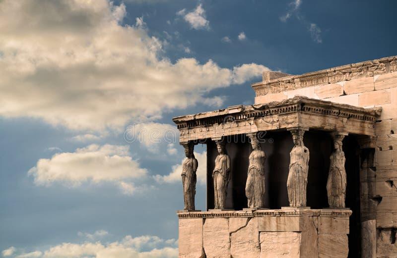 Karyatides, Erehtheio, акрополь стоковая фотография rf