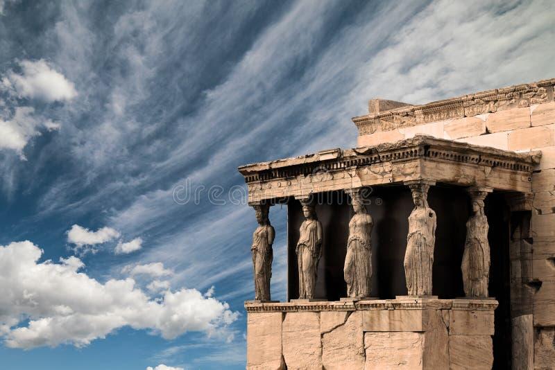 Karyatides, Erehtheio, at Acropolis of Athens city royalty free stock photos