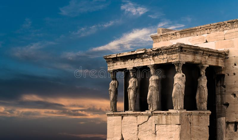 Karyatides, Erehtheio, Acropolis royalty free stock photos