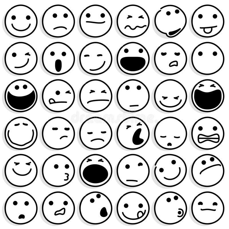 Karykatur Emoticons Ustawiający na Białym tle royalty ilustracja