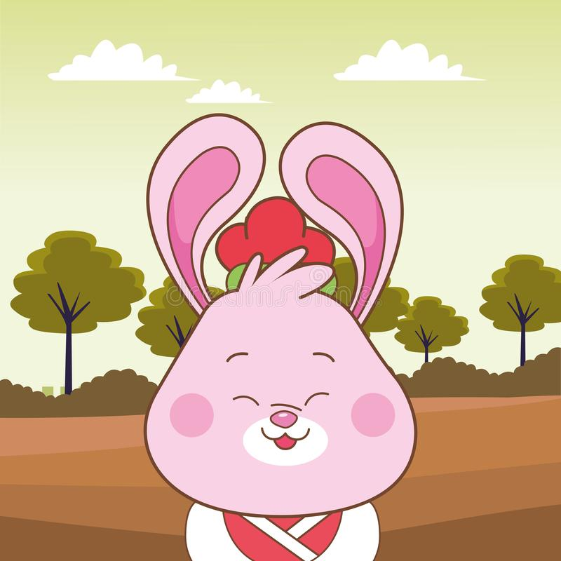Karykatura słodkiego królika z połowy jesieni royalty ilustracja