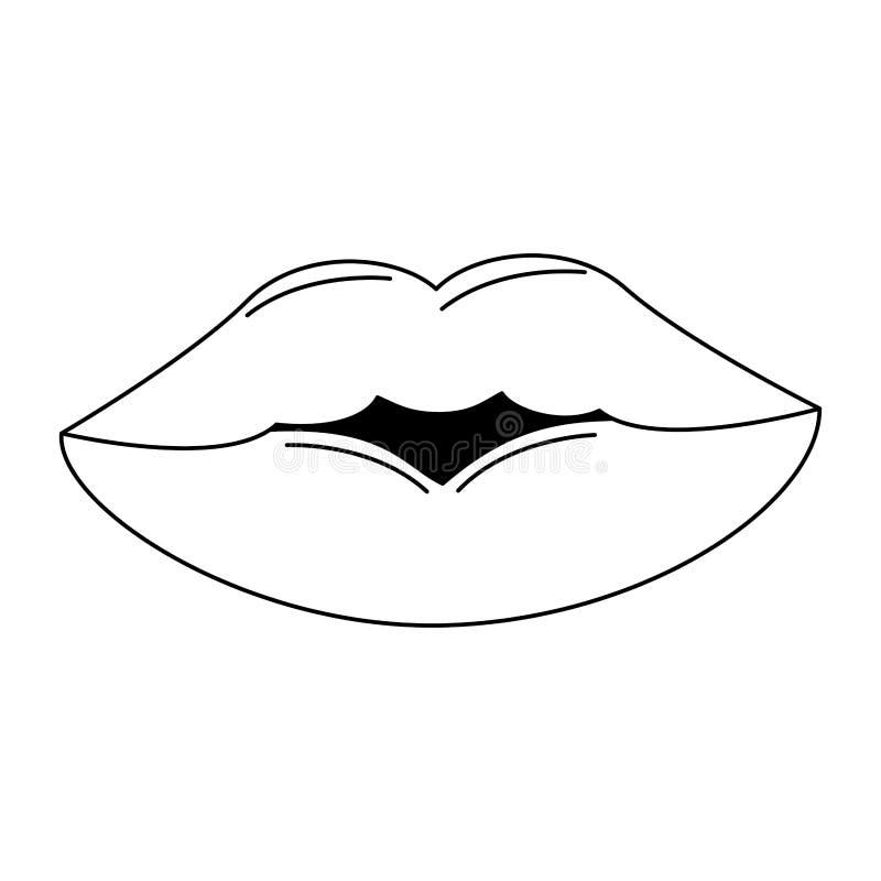 Karykatura z makijażem na temat seksownych warg royalty ilustracja