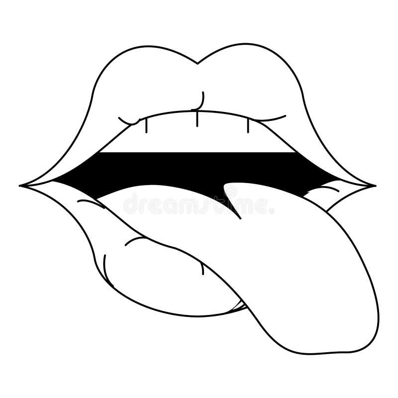 Karykatura z makijażem na temat seksownych warg ilustracja wektor