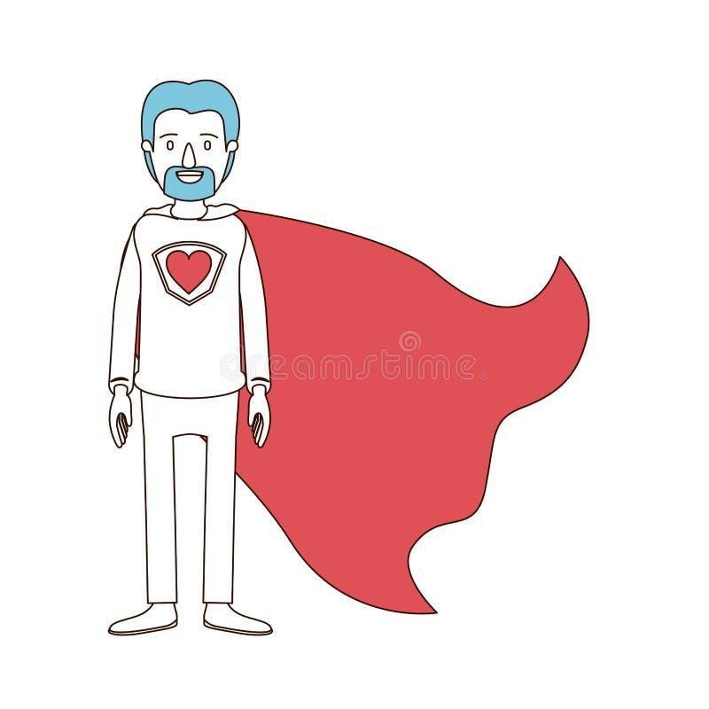 Karykaturuje kolor sekcje i błękitnego włosy pełnego ciała taty super bohater z brodą ilustracji