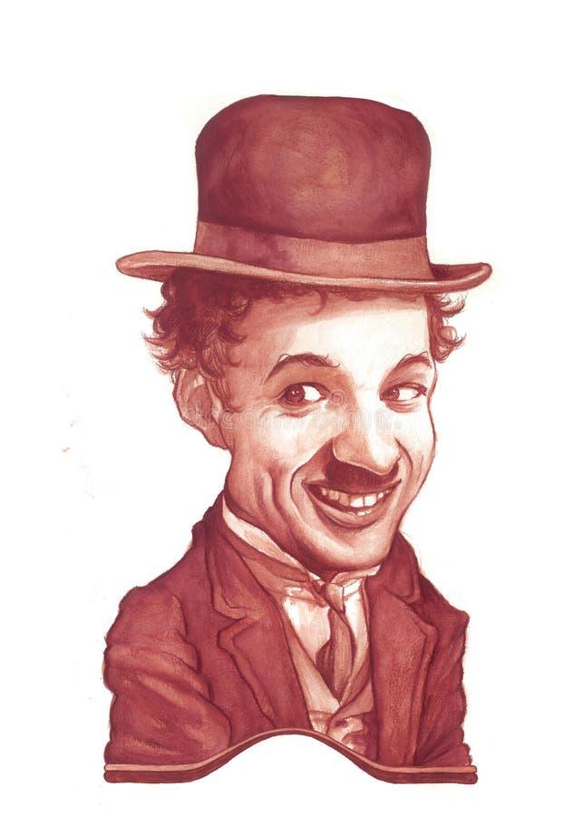 karykatury Chaplin Charlie nakreślenie ilustracja wektor
